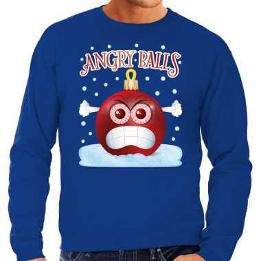 Blauwe foute kerstsweater / trui angry balls voor heren