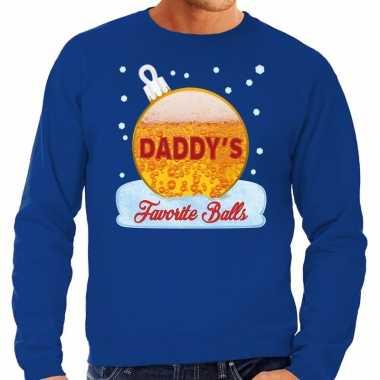 Blauwe foute kerstsweater / trui daddy his favorite balls met bier print voor heren