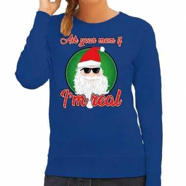 Blauwe foute kersttrui / sweater ask your mom voor dames