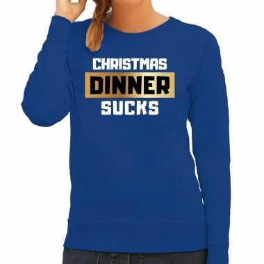 Blauwe foute kersttrui / sweater christmas dinner / kerstdiner sucks voor dames
