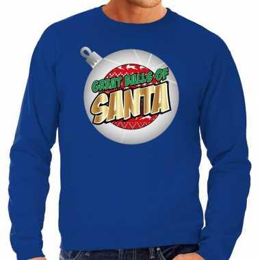 Blauwe foute kersttrui / sweater great balls of santa voor heren