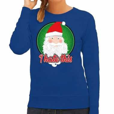 Blauwe foute kersttrui / sweater i hate this voor dames