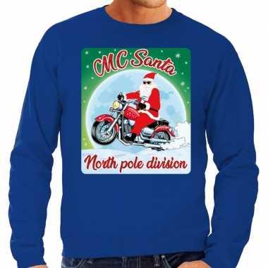 Blauwe foute kersttrui / sweater mc santa voor motor fans heren