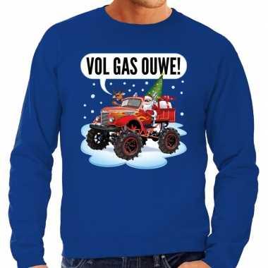 Blauwe foute kersttrui / sweater racende santa op monstertruck voor heren
