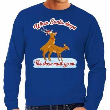 Blauwe foute kersttrui / sweater rendieren aan het seksen voor heren