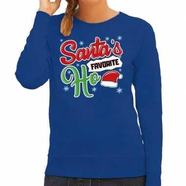 Blauwe foute kersttrui / sweater santa his favorite ho voor dames