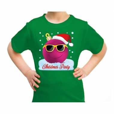 Fout kerst shirt coole kerstbal christmas party groen voor kids