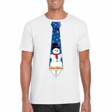 Fout kerst t-shirt wit met sneeuwpop stropdas voor heren