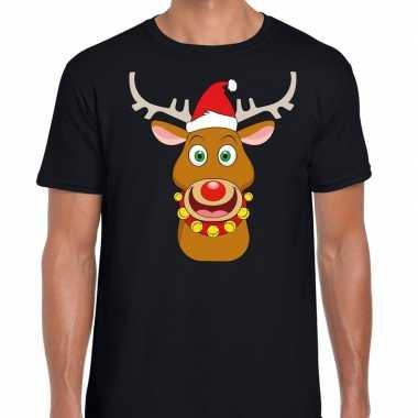 Foute kerst t-shirt rendier rudolf rode kerstmuts zwart heren
