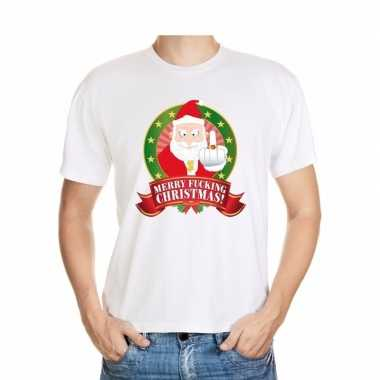 Foute kerstmis shirt wit merry fucking christmas voor mannen
