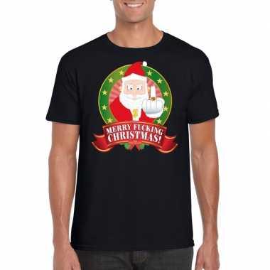 Foute kerstmis shirt zwart merry fucking christmas voor mannen