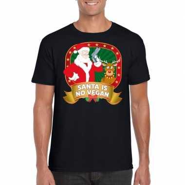 Foute kerstmis shirt zwart santa is no vegan voor mannen