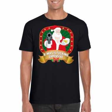 Foute kerstmis shirt zwart x-mas is fucking expensive voor mannen