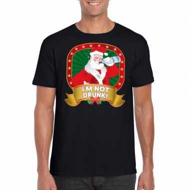Foute kerstmis t-shirt zwart i'm not drunk voor mannen