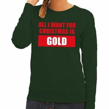 Foute kersttrui christmas gold groen voor dames