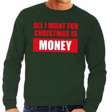 Foute kersttrui christmas money groen voor heren