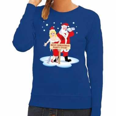 Foute kersttrui dronken kerstman en kerstvrouw blauw dames