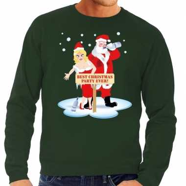 Foute kersttrui dronken kerstman en kerstvrouw groen heren