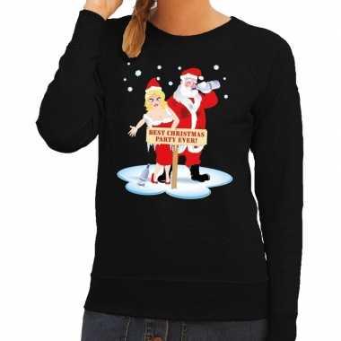 Foute kersttrui dronken kerstman en kerstvrouw zwart dames