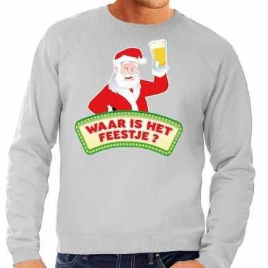 Foute kersttrui grijs waar is het feestje voor heren