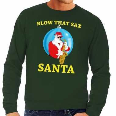 Foute kersttrui groen blow that sax voor heren