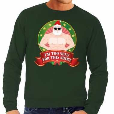 Foute kersttrui groen im too sexy for this shirt voor heren