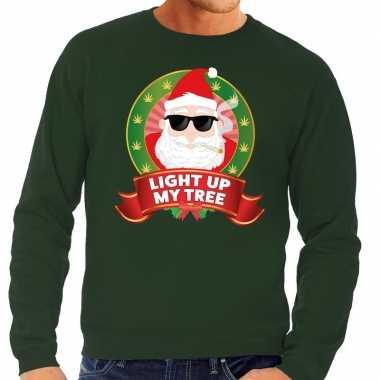 Foute kersttrui groen light up my tree voor heren