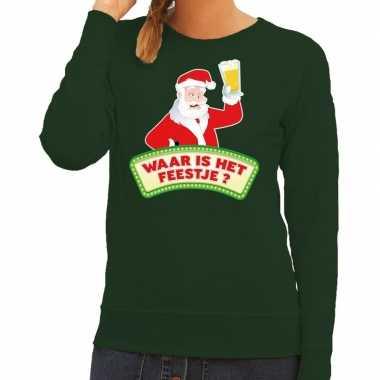 Foute kersttrui groen waar is het feestje voor dames