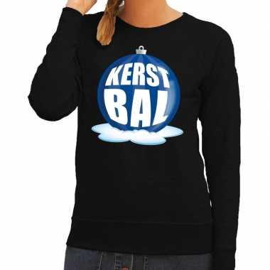 Foute kersttrui kerstbal blauw op zwarte sweater voor dames