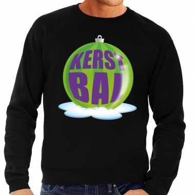 Foute kersttrui kerstbal groen op zwarte sweater voor heren