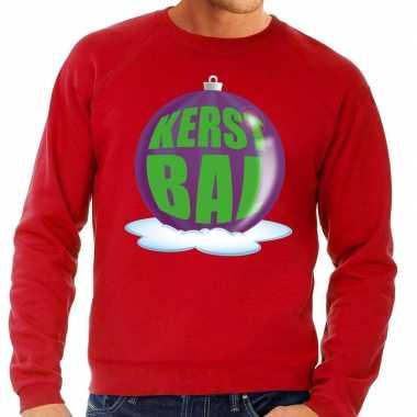 Foute kersttrui kerstbal paars op rode sweater voor heren