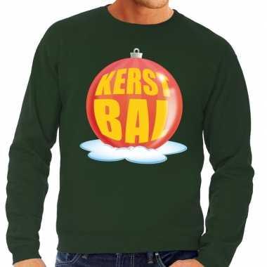 Foute kersttrui kerstbal rood op groene sweater voor heren
