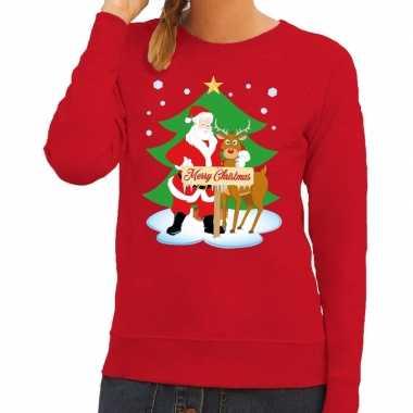 Kersttrui Kerstman.Foute Kersttrui Kerstman En Rendier Rudolf Rood Dames Kerst Shirt Nl