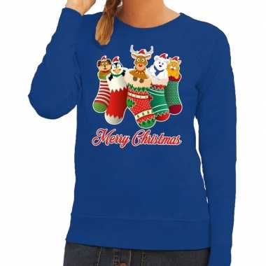 Foute kersttrui kerstsokken merry christmas blauw voor dames