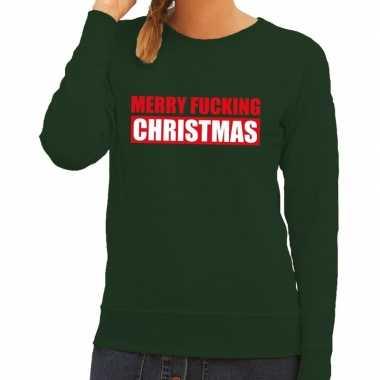 Foute kersttrui merry fucking christmas groen voor dames