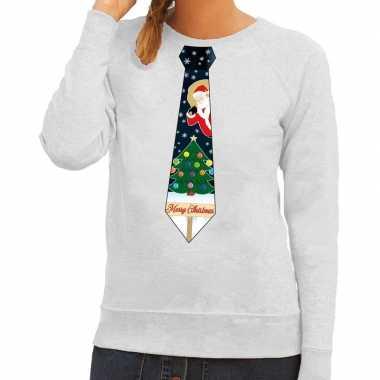 Foute kersttrui stropdas met kerst print grijs voor dames