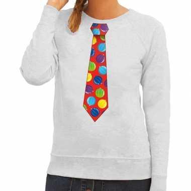 Foute kersttrui stropdas met kerstballen print grijs voor dames