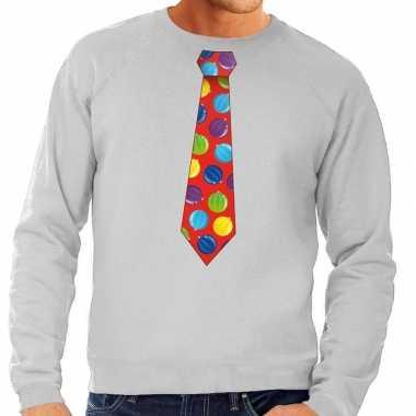 Foute kersttrui stropdas met kerstballen print grijs voor heren
