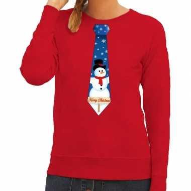 Foute kersttrui stropdas met sneeuwpop print rood voor dames