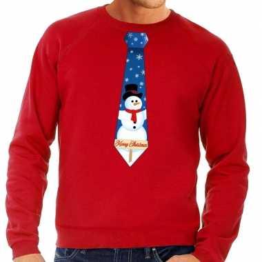 Foute kersttrui stropdas met sneeuwpop print rood voor heren