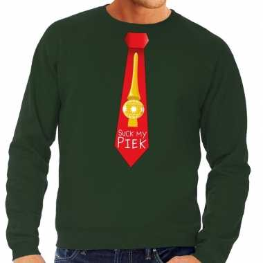 Foute kersttrui stropdas suck my piek groen voor heren