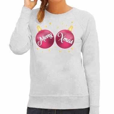 Foute kersttrui / sweater grijs met merry xmas voor dames