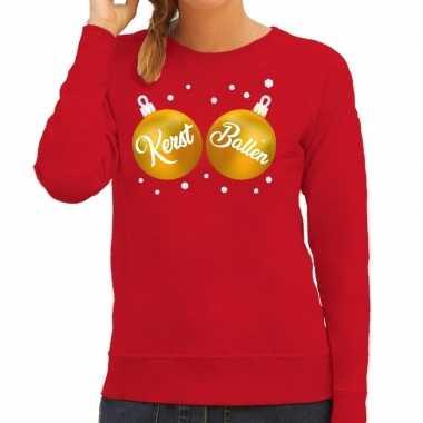 Foute kersttrui / sweater rood met kerst ballen voor dames