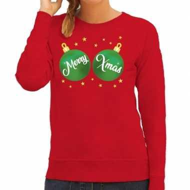 Foute kersttrui / sweater rood met merry xmas voor dames