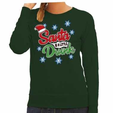 Foute kersttrui / sweater santa is a little drunk groen dames