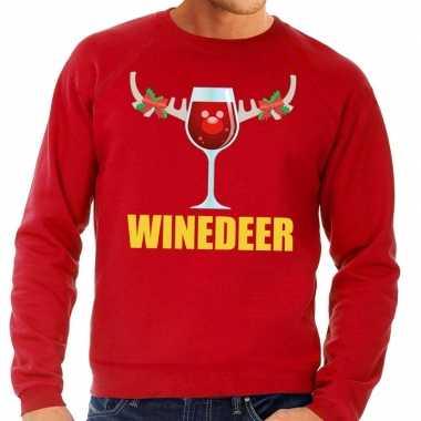 Foute kersttrui winedeer rood voor heren