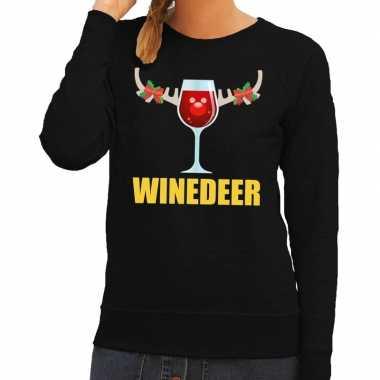Foute kersttrui winedeer zwart voor dames