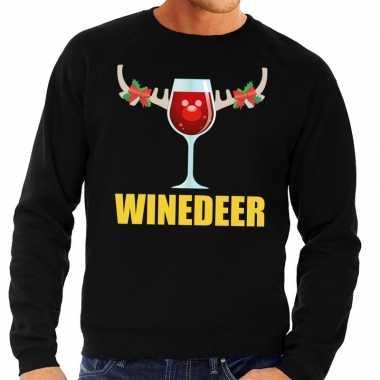 Foute kersttrui winedeer zwart voor heren
