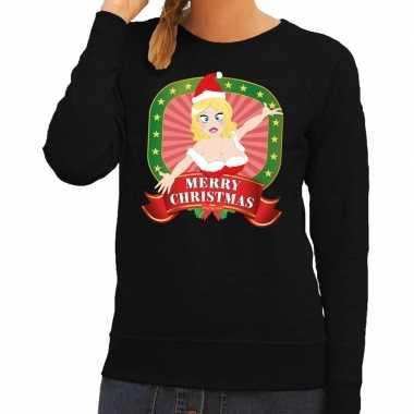 Foute kersttrui zwart merry christmas kerstvrouw voor dames