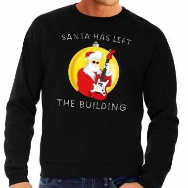 Foute kersttrui zwart santa has left the building voor heren